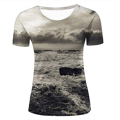 50152686f2d25 para Mujer Crewneck 3D Print T-Shirt Stormy Seas Big Wave Creative Graphic  Short Sleeve tee Top Shirts M