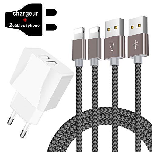Chargeur USB Secteur,Adaptateur Secteur USB 2 Ports avec Cable Chargeur Phone[1.5m/ Lot de 2] Cable Phone XS/xsmax/XR/X/8/ 8plus/7/7plus/6/6s/6plus/5s/5,Pad 2/3/4 Mini(Gris)