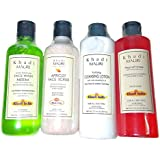Khadi Herbal Organic and Natural Mini Home face Cleansing Facial Kit -Combo of 4 (Neem Face Wash +Apricot Face Scrub +Cleansing Lotion +Peel Off Mask)