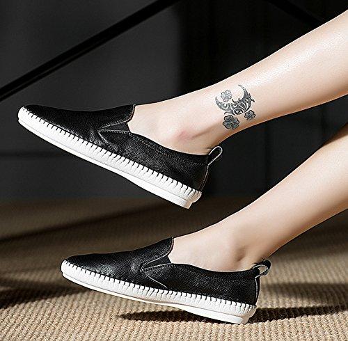 Slipper Loafer Toe Rodada Óptica Confortável Couro Preto Clássico Mulheres Aisun De Das 7v1qzx