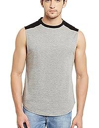 Gritstones Grey/Black Round Neck Sleeveless Vest (t Shirts)