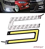 #2: Autoxygen Car U Shape Cob LED DRL Day Time Running Light Water Proof White Fog Light - Set of 2 Pcs.