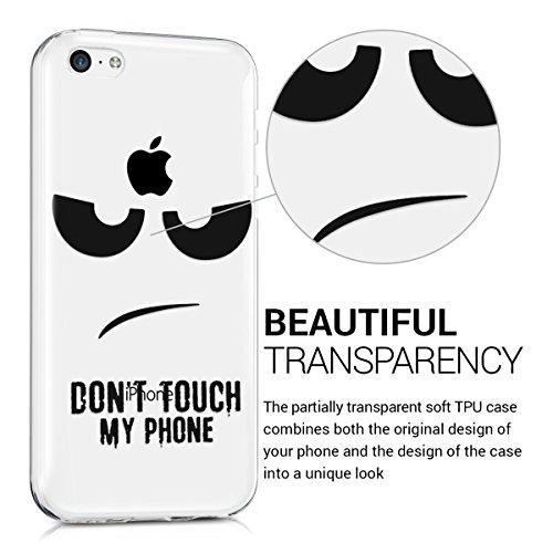 kwmobile Étui TPU silicone élégant et sobre pour Apple iPhone 5C en transparent Don't touch my phone IMD noir transparent