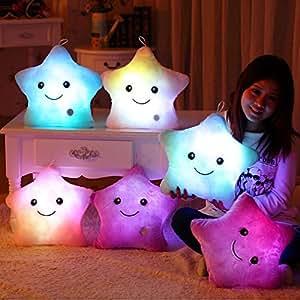 MFEIR® Kreative Glühende LED Nachtlicht Twinkle Stern Form Plüsch Kissen Stofftiere 30x35 cm Blau