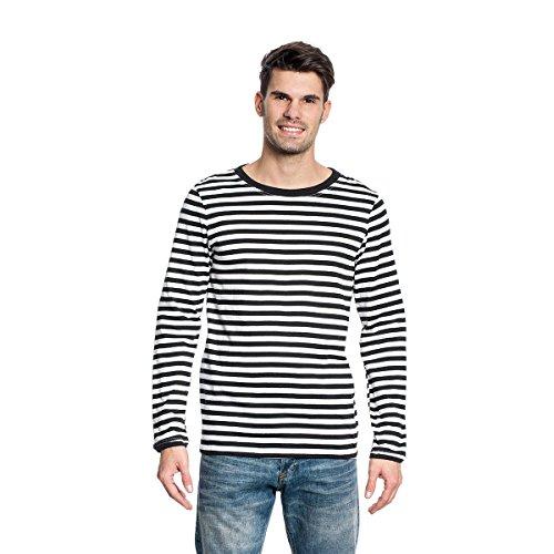 Kostümplanet Ringel Shirt Langarm Herren Schwarz-weiß Größe M