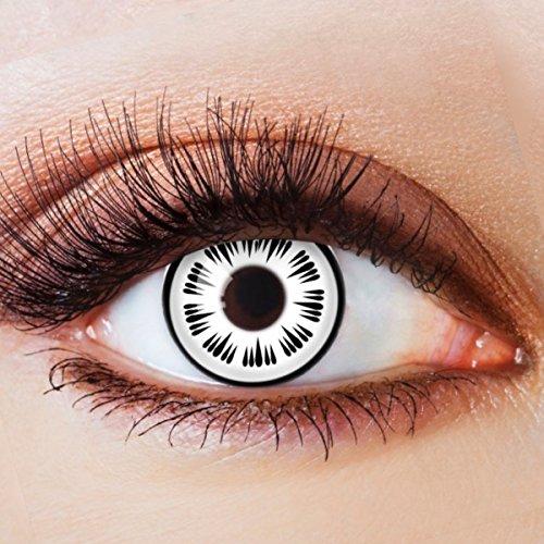 Farbige Kontaktlinsen Motivlinsen Ohne Stärke mit Motiv Fun Linsen für Halloween Karneval Party Fasching Cosplay Kostüm Black White Horror Eye