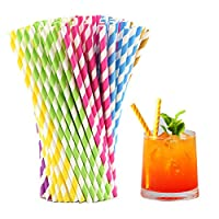 WenderGo Paper Straws, Colorful Striped Straws with Recyclable Biodegradable Paper Drinking Straws Bulk Wholesale for Birthday Party, Wedding, Graduation, Party Favor Supplies, (150 pcs)