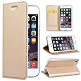 SmartLegend Kompatibel mit iPhone 7/iPhone 8 Hülle, PU Leder Handyhülle Gold Schutzhülle Brieftasche Lederhülle Klapphülle mit Kartenfach Standfunktion Magnet Etui