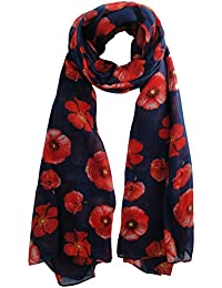 Beautiful Poppy Scarf in Navy Blue Ladies Fashion Spot Scarves With Hanging Heart Gift