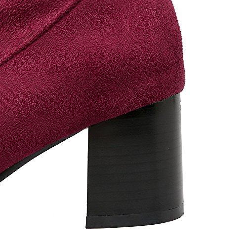VogueZone009 Femme Haut Élevé Couleur Unie Lacet Pointu à Talon Correct Bottes avec Dentelle Rouge