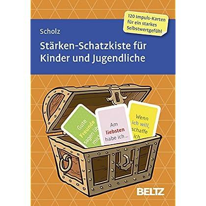 Stärken-Schatzkiste für Kinder und Jugendliche: 120 Karten mit 16-seitigem Booklet in stabiler Box, Kartenformat 5,9 x 9,2 cm