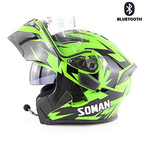 Casco Bluetooth, casco da esterno a doppia lente per uso esterno Il casco Bluetooth supporta il casco per motocicletta Bluetooth per chiamata / musica, adatto per fuoristrada da moto.,J,S(55~56cm)