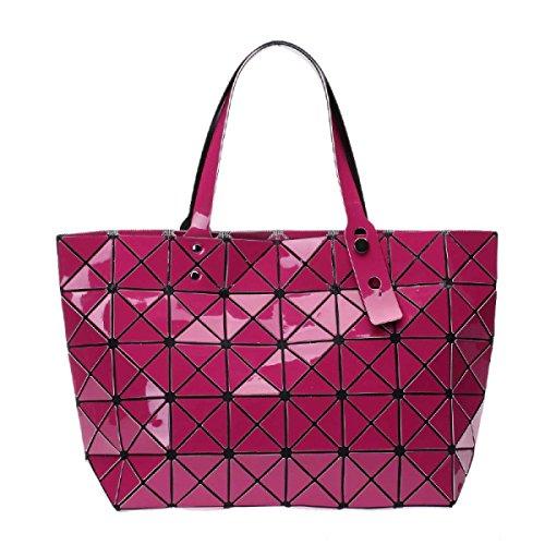 Damenmode-Laser-Tasche Geometrische Folding Umhängetasche RoseRed
