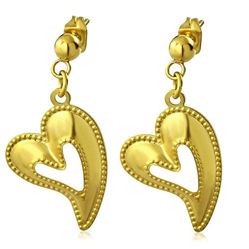 bungsa® Cuore Orecchini con ciondolo oro-1paio acciaio inox (orecchini ad anello orecchini orecchini placcati uomo donne Teardrop Donna Mode)
