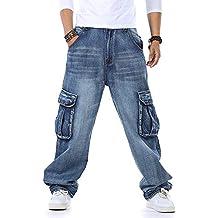 f40f9e79abf84 Pantalones Vaqueros Holgados de Hip Hop para Hombres Talla Grande 30-46  Bolsillos múltiples Pantalones