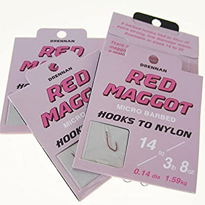 FTD - 24 (3 packs of 8) Single Size DRENNAN RED MAGGOT Micro Barbed Spade End Fishing Hooks to Nylon Selection - Available in Size 14, 16, 18 & 20 - also comes with 10 FTD Barbed Hooks to Nylon by FTD & DRENNAN