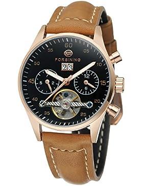 forsining Damen-Armbanduhr Automatische Tag Automatik Kalender Lederband Marke Collection Armbanduhr fsl691m3b1