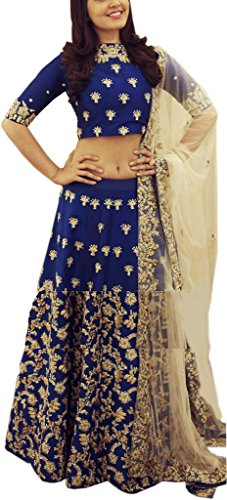 Shreebalaji Enterprise Women's Taffeta Silk Blue Color Lehenga Choli/lehnga(FreeSize_Semi-stitched_Embroidary Work)
