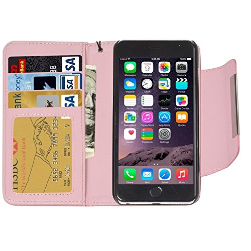 Phone case & Hülle Für IPhone 6 / 6S, 2 In 1 Trennbare Wallet Style Magnetische Flip PU Ledertasche mit Lanyard ( Color : Purple ) Pink