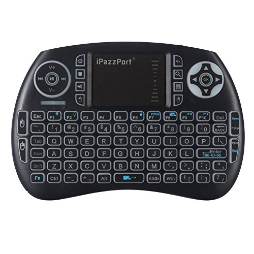 iPazzPort KP-810-21SL Mini-Tastatur, beleuchtet, USB, mit Touchpad für Android TV Box, Nvidia Shield TV, Raspberry Pi 3