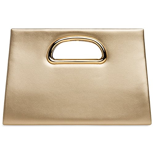 CASPAR TA409 Donna Pochette Grande con Manico in Metallo Oro