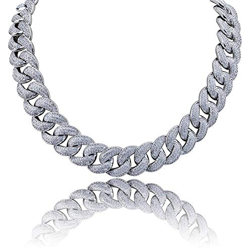 WJMSS 18mm Männer große kubanische Kette Kette Bling volles Zirkoniumoxid EIS Halskette Mode Accessoires Geschenke,Silver,22inches