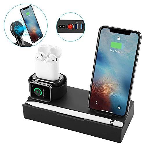 Lu caricabatterie senza fili in lega di alluminio multi-funzione caricabatterie wireless per iwatch apple watch wireless ricarica dei baccelli di ricarica