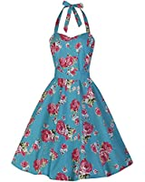 Pretty Kitty Fashion Turquoise Pink Floral Print Swing 50s Dress