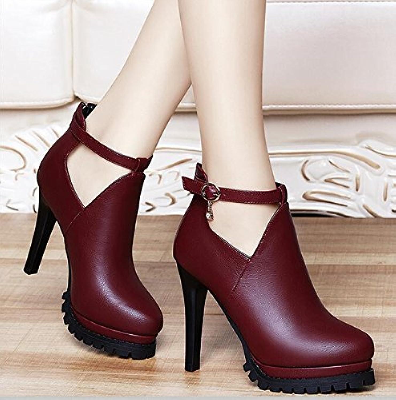 LGK&FA Solo Los Zapatos El Color Puro Ocio Y Tacones Altos Tacones Finos Gules 34