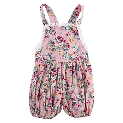 CHshe Toddler Infant Kids Girls Pink Lace Floral Print Halter Summer Princess Straps Romper Jumpsuit Party Outfits Clothes for 0-24 Months