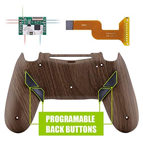 eXtremeRate Dawn Programmierbares Remap Kit für PS4 Controller mit Rückseite Hülle Gehäuse Case&Mod-Chip&4 Rückseiten Tasten-für Playstation 4 JDM 040/050/055(Holz-Maserung) (Ps4-gehäuse)