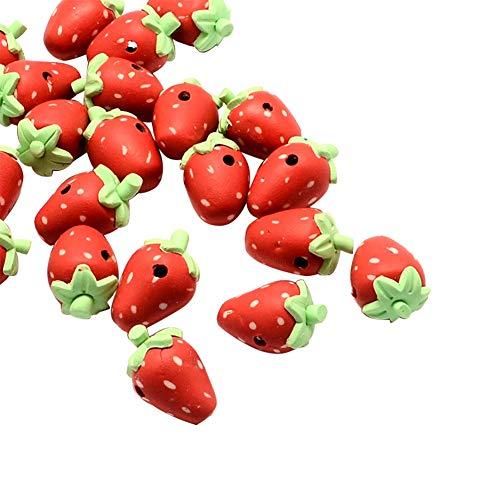 nbeads 100 Erdbeer-Perlen aus Polymer-Ton für Schmuck, 15-19 x 11 x 12 mm, Loch: 2-3 mm - Polymer-perlen