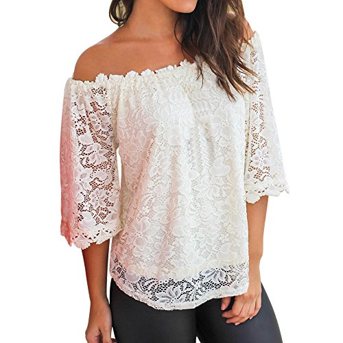 Women T-Shirt Ladies Summer 3/4 Sleeve Off Shoulder Strapless Lace Tunic Tops Blouse Shirt Casual Pullover Sweatshirt Jumper Womens Sale Clearance Teen Girls