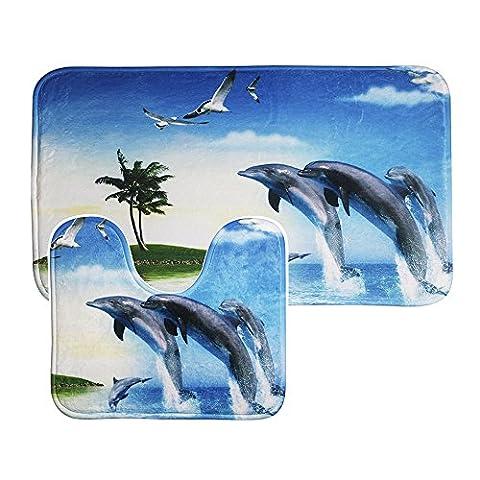 Uomere Ensemble de tapis de salle de bain Ensemble de sièges Coussin de flanelle antidérapant (Tapis de bain + Tapis de coussin + Cadre de coque) 2 pièces (Dolphin)