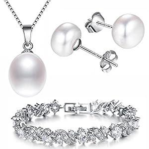 """Kim Johanson Damen Schmuckset """"White Pearl"""" mit echten Süßwasser Perlen und Zirkonia Steinchen Halskette, Ohrringe & Armband aus 925 Sterling Silber & Edelstahl inkl. Schmuckbeutel"""
