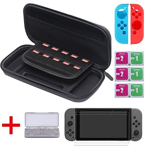 [13 In 1] Nintendo Switch Tasche, Diyife® Switch Tasche mit 3 KOSTENLOSEN HD Displayschutz, GameCard Case, 1 Paar Joy-Con Gel Schutzhülle, 6 Stück Reinigungsset, 10 Eingebauter Game Card Halter (Tasche, Flanell)
