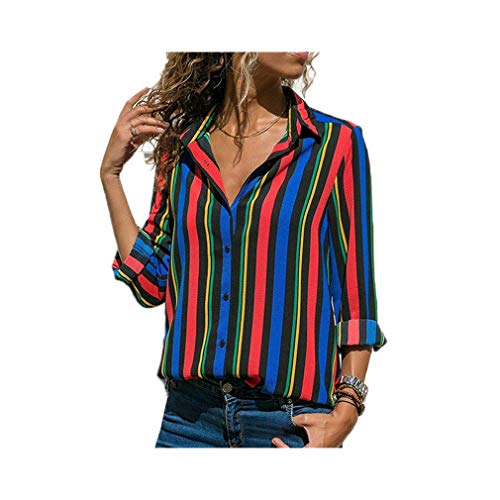 Women Fashion Long Sleeve Turn Down Collar Office Chiffon Blouse Shirt Tops -