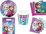 Disney Frozen - LA REGINA DEI GHIACCI Set Party, 48-teilig; piatti, Tazza, tovaglioli, Borse festa , INVITI