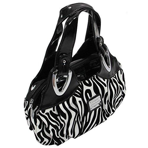 SODIAL(R) Adatti la borsa di cuoio delle donne PU Bag Tote Bag Borse di stampa Satchel -Dream cartamo + Handstrap bianco - Zebra