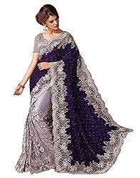 Fashion Dream Women Velvet & Net Half Saree( 111 Blue Velvet Gpo, Blue ,Free Size)