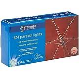 Premier Decorations BL141473 3 m 80 LED Lights for Parasol with Timer - Warm White