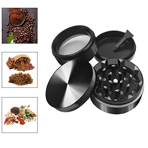 Jourbon Grinder Crusher 4-Teilig Mühle für Tabak Spice Kräuter Gewürze Herb Kaffee mit Pollen Scraper, Mini Scraper Schwarz