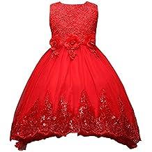 Moollyfox Niña Vestido Flor para Partido Boda Sin Mangas Encaje Vestido de Princesa Rojo 160CM