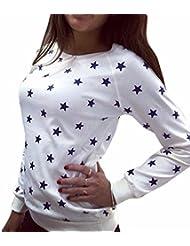 Las Mujeres De Algodon Combina Estrellas Hoddies Impresas Camiseta De Manga Larga Tops Color Solido