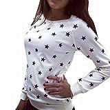 QIYUN.Z Frauen Baumwoll Mischungen Sterne Drucken Hoddies T-Shirt Mit Langen Aermeln Oberteile Einfarbig