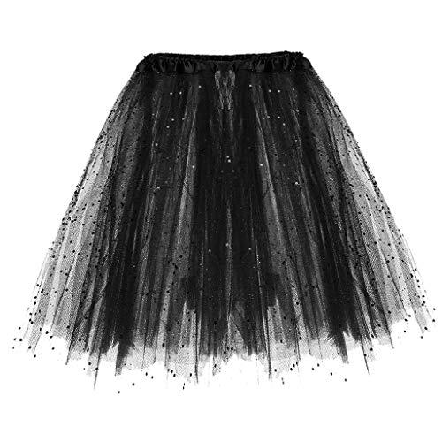 BHYDRY Womens Paillette elastischer 3-lagiger kurzer Rock Tutu für Erwachsene(Einheitsgröße,Schwarz) -
