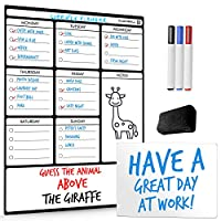 Magnetic Whiteboard Weekly Planner - Family Planner - A4 Small White Board for Positive Comments - Mindfulness Memory Board to Help Reduce Stress - 2020 Monthly Calendar for New Year Resolutions