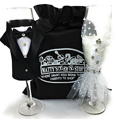 Handgefertigtes Hochzeitskleid und Smoking Champagnerflötengläser, Geschenk-Set mit exklusiver...