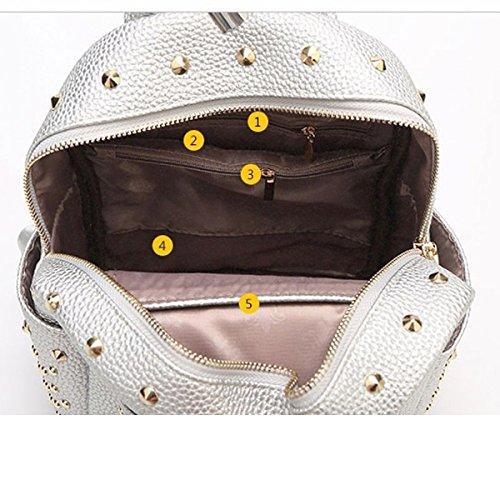 Frauen Art Und Weise Niet College Schulter Rucksack Rucksack Reisetasche Aus Leder Multicolor Black