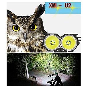 Linterna LáMPARA para bicicletas bici CREE XM-L U2 - Luz LED frontal para manillar de bicicleta (2 focos, 5000 Lumens, 4 modos) con Llavero Linterna (negro)